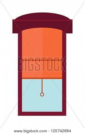 Window jalousie shutter background curtain blinds interior flat vector illustration.