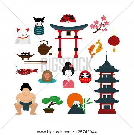 Chinese traditional culture lanterns and objects vector illustration.