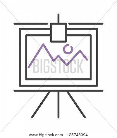 Graph with two lines on whiteboard flipchart icon business presentation vector illustration.