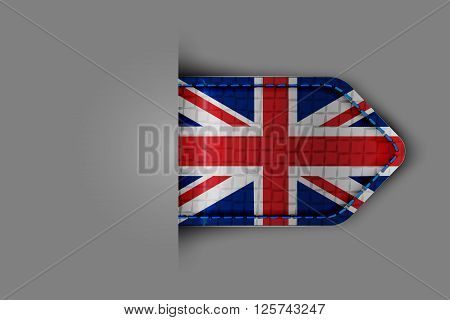 Flag of the United Kingdom of Great Britain in the form of a glossy textured label or bookmark. Vector illustration.
