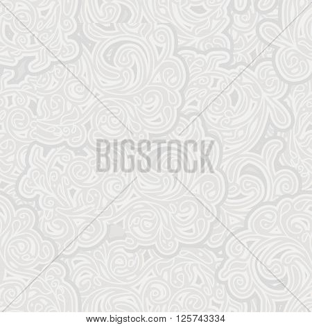 Gray abstract background. Seamless lace curlicues. Vector illustration.