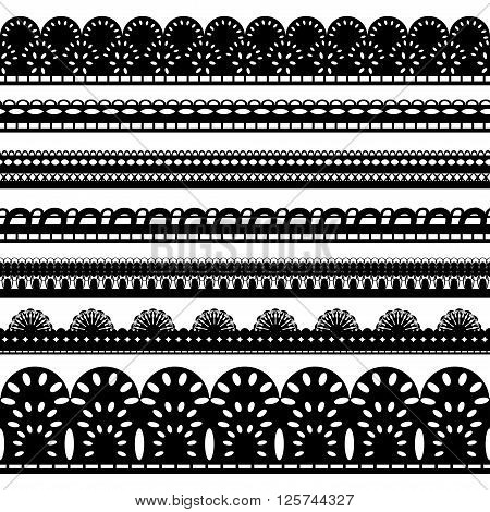 Set of seven seamless black lace ribbon isolated on a white background. Vector illustration. EPS 8