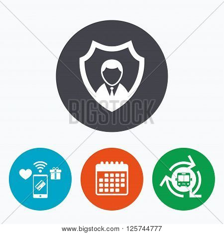 Security agency sign icon. Shield protection symbol. Mobile payments, calendar and wifi icons. Bus shuttle.