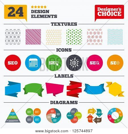 Banner tags, stickers and chart graph. SEO icons. Search Engine Optimization symbols. World globe and mouse or hand cursor pointer signs. Linear patterns and textures.