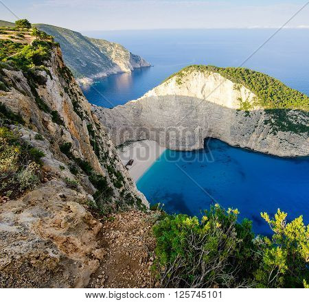 Famous paradise beach Navajo with shipwreck. Blue lagoon wide angle view at Zakynthos island Greece