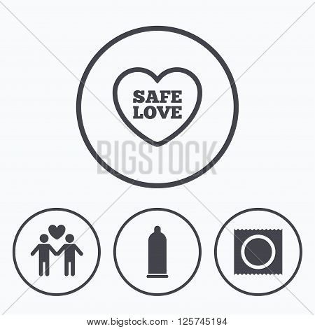 Condom safe sex icons. Lovers Gay couple signs. Male love male. Heart symbol. Icons in circles.