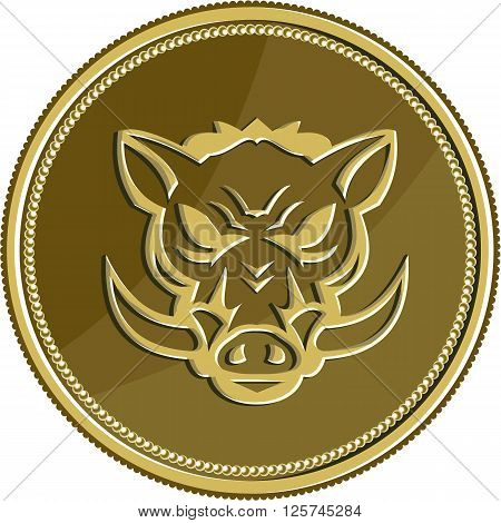 Illustration of an angry wild pig hog head viewed from the front set inside gold coin medal done in retro style.