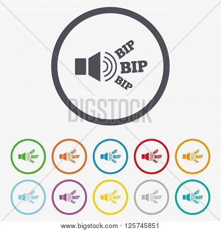 Speaker volume icon. Sound with BIP symbol. Loud signal. Round circle buttons with frame.