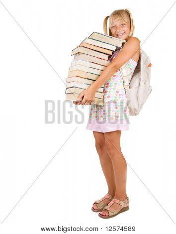 Education Concept.School Girl with books.
