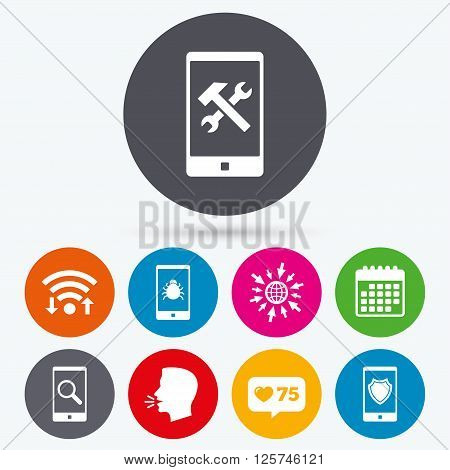 Wifi, like counter and calendar icons. Smartphone icons. Shield protection, repair, software bug signs. Search in phone. Hammer with wrench service symbol. Human talk, go to web.