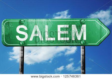 salem road sign on a blue sky background