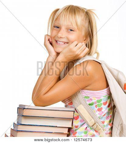 Educación Concept.Happy colegiala con libros