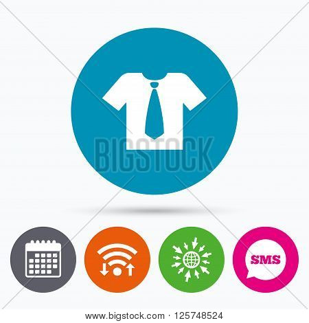 Wifi, Sms and calendar icons. Shirt with tie sign icon. Clothes with short sleeves symbol. Go to web globe.