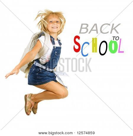Back to School.Happy Pupil Jumping.Isolated on white
