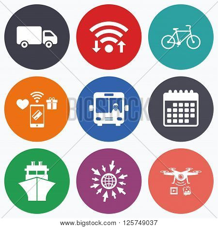 Wifi, mobile payments and drones icons. Transport icons. Truck, Bicycle, Public bus with driver and Ship signs. Shipping delivery symbol. Family vehicle sign. Calendar symbol.