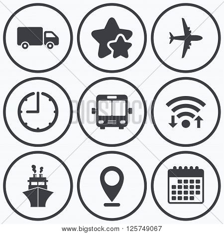 Clock, wifi and stars icons. Transport icons. Truck, Airplane, Public bus and Ship signs. Shipping delivery symbol. Air mail delivery sign. Calendar symbol.