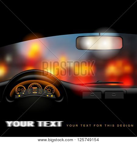 View from inside the car on the night city lights background. Vector illustration.
