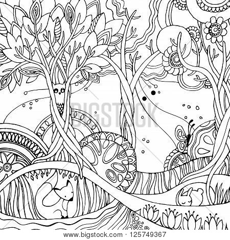 Adult coloring page with forest, fox, owl, rabbit, butterfly, trees, flowers. Fairy forest. Vector illustration.