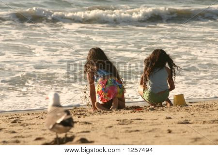 Children Surveying The Ocean