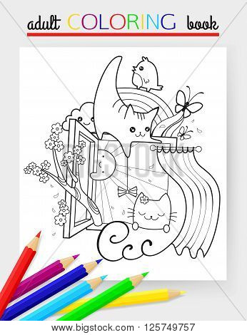 Spring hand drawn doodle vector illustration with two beloved cats, sunshine, butterfly, cherry, rainbow and flowers. Adult coloring book. Cheerful kitten. Vector illustration.