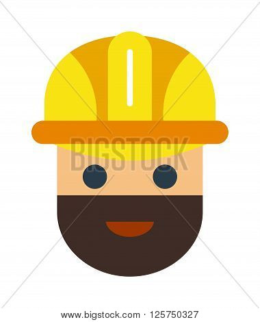 Cartoon vector worker character face. Worker cartoon character illustration. Cartoon worker professional man worker with red helmet. Cartoon worker flat style. Under construction cartoon builder face