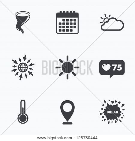 Calendar, like counter and go to web icons. Weather icons. Cloud and sun signs. Storm symbol. Thermometer temperature sign. Location pointer.