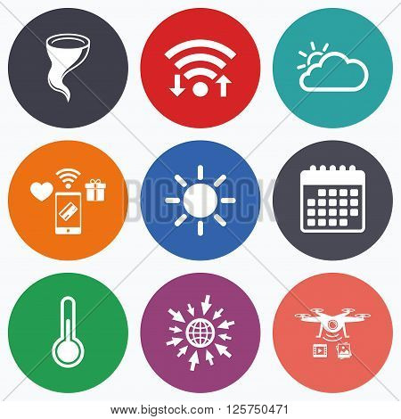 Wifi, mobile payments and drones icons. Weather icons. Cloud and sun signs. Storm symbol. Thermometer temperature sign. Calendar symbol.