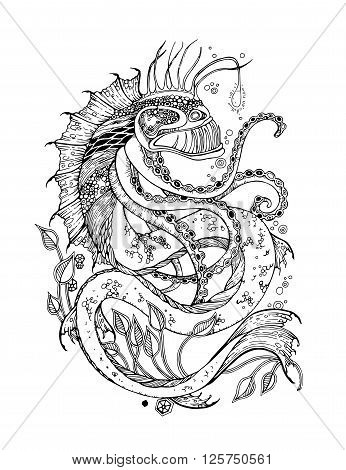 Angler fish tattoo. Sea monster tattoo. Adult Coloring Page with sea monster. Sea monster vector. Sea monster isolated. Sea monster cartoon. Sea monster design. Angler fish vector.