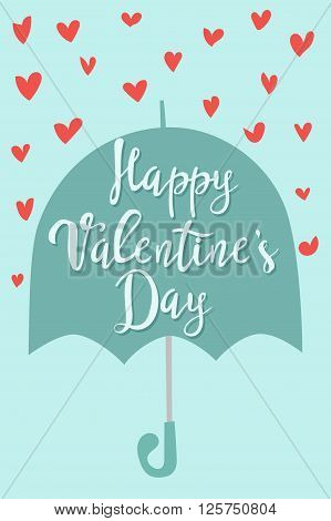 Happy Valentines Day greeting cards text vector illustration. Umbrella with hearts rain, love sign. Full of love beauty greeting love card design. Hearts symbols, umrella