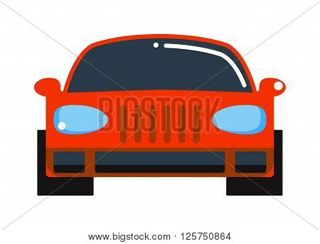 Sedan red car design and red car shiny technology style vector. Generic red car luxury design flat vector illustration isolated on white. Red car flat style, red car isolated front view