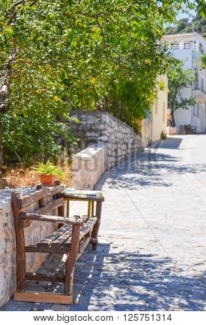 picturesque village streets in Greece on the island of Crete