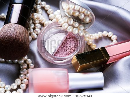 Make up background.Makeup accessories