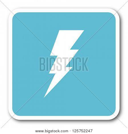 bolt blue square internet flat design icon