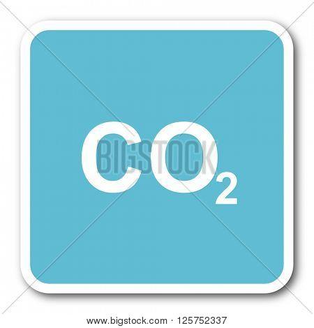 carbon dioxide blue square internet flat design icon