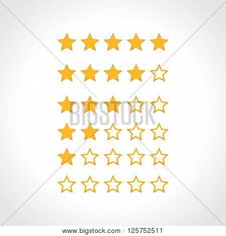 Set of Vector Gold Stars Icon. Five Stars Icon Template.