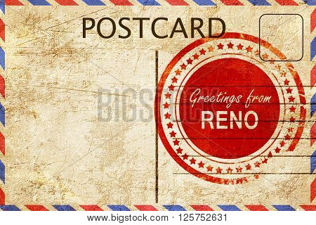greetings from reno, stamped on a postcard