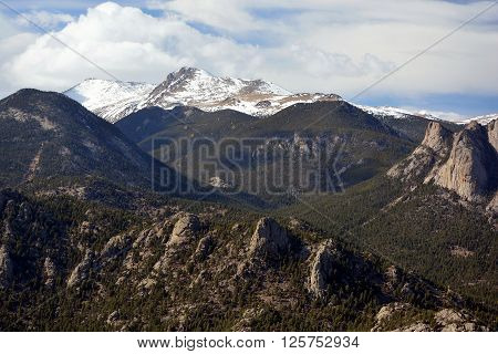 Lumpy Mountain Ridge with Giant Rock Outcroppings and Snow