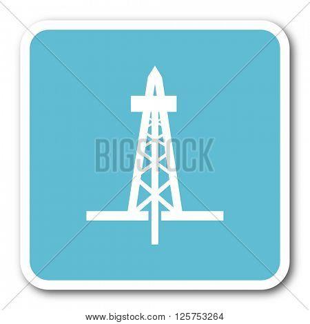 drilling blue square internet flat design icon