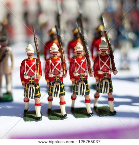 Marching miniature metal Toy Soldiers