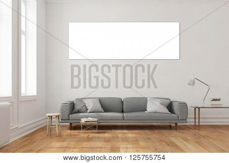 Panorama canvas on wall in living room over a sofa (3D Rendering)