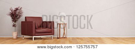 Chair in living room interior panorama with wall (3D Rendering)