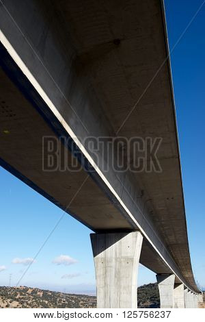 view of a high-speed viaduct in Sagides, Soria, Castilla Leon, Spain. AVE Madrid Barcelona.