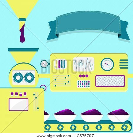Vector illustration of factory producing acai cream. Acai cream production from liquid purple. Empty ribbon for insert text.