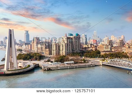 shanghai bund with morning glow beautiful modern city China