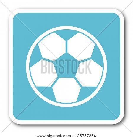 soccer blue square internet flat design icon