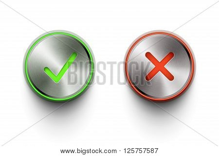 ok and cancel metal round buttons on white background eps10 vector illustration