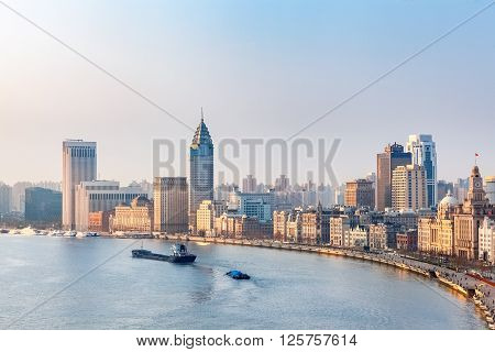 sunlight shines on the bund in the morning shanghai China