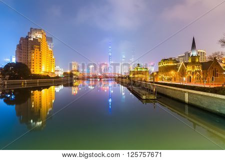 shanghai at night beautiful suzhou river and misty pudong skyline