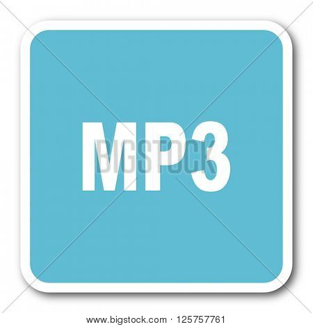 mp3 blue square internet flat design icon
