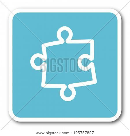 puzzle blue square internet flat design icon